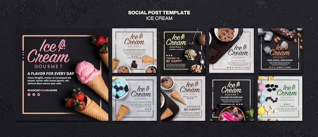 Шаблон сообщения в социальных сетях с концепцией мороженого Бесплатные Psd