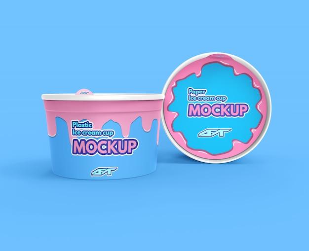 아이스크림 컵 모형 프리미엄 PSD 파일