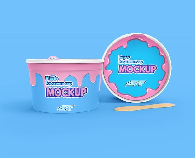 Ice cream cup mockup Premium Psd