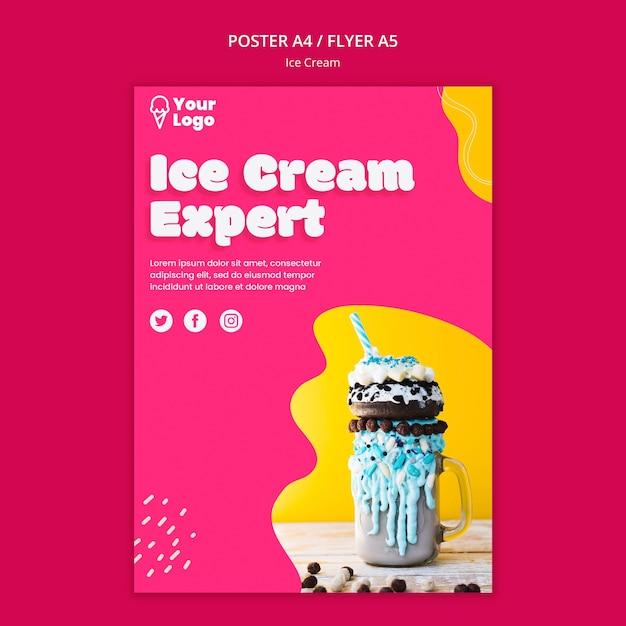 Шаблон постера эксперта по мороженому Бесплатные Psd