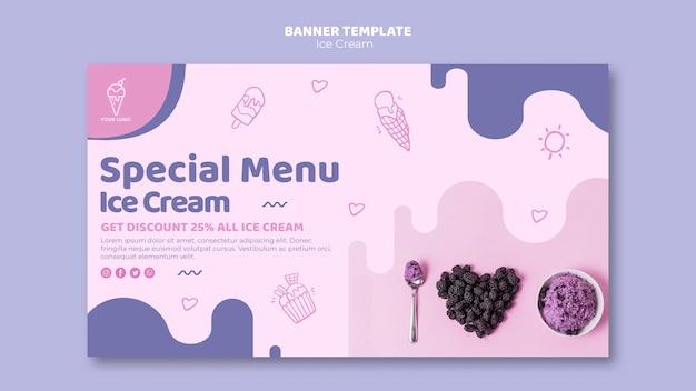 Шаблон баннера меню мороженого Бесплатные Psd