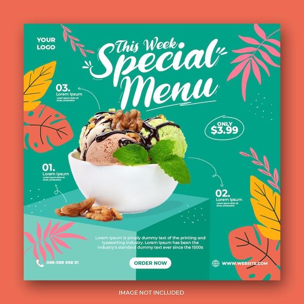 Ice cream menu promotion social media instagram post banner template Premium Psd