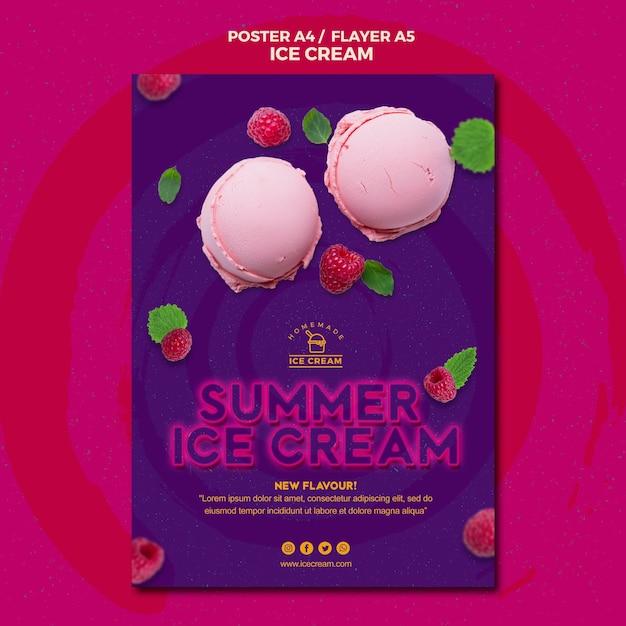 Тема шаблона плаката мороженого Бесплатные Psd