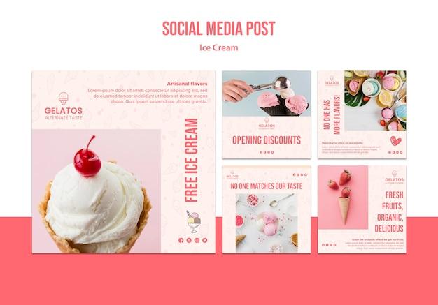Шаблон сообщения в социальных сетях для мороженого Бесплатные Psd