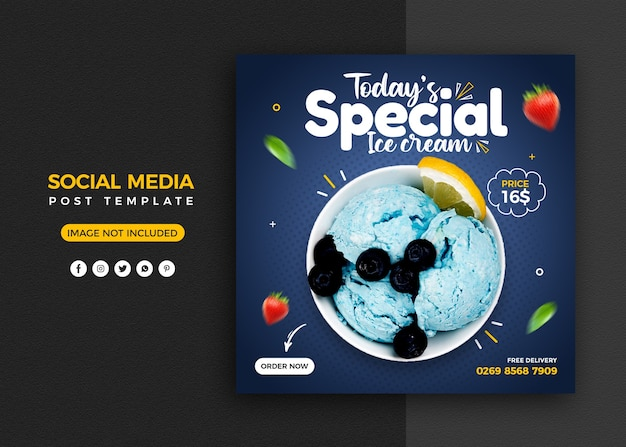 Ice cream social media promotion and instagram banner post design template Premium Psd