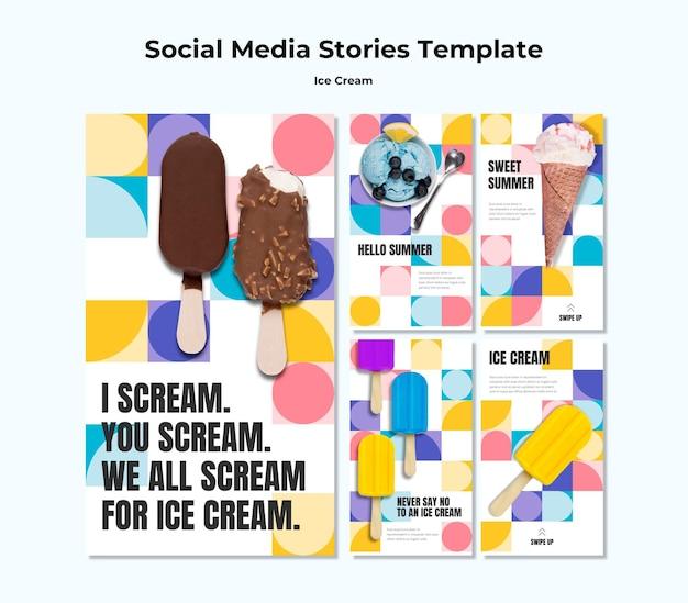 Шаблон историй о мороженом в социальных сетях Premium Psd