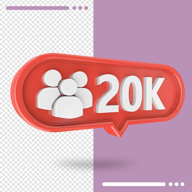 Icon 3d instagram 20k followers isolated Premium Psd