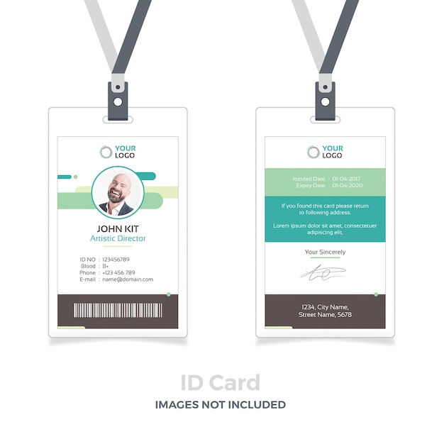 Id card mockup with ribbon Premium Psd