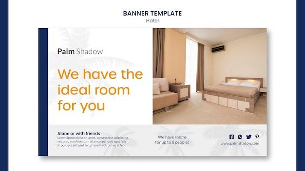 Ideal hotel room banner web template Free Psd