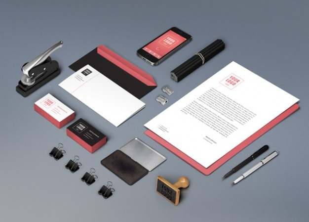 Identity mockup with stationery items Free Psd
