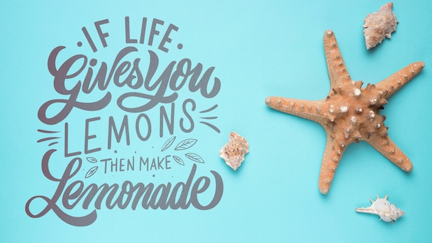 If life gives you lemons, then make lemonade. inspirational and motivational lettering quote Free Psd