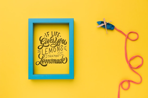 If life gives you lemons, then make lemonade, motivational lettering quote Free Psd