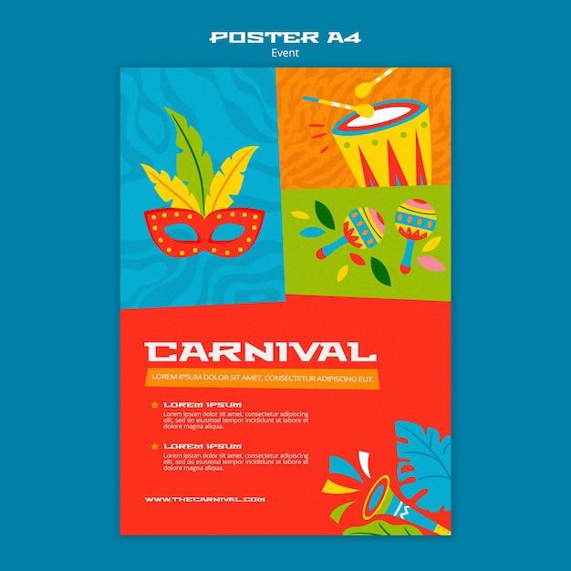 Modello di poster di carnevale illustrato Psd Gratuite