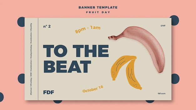 Illustrated fruit day banner Free Psd