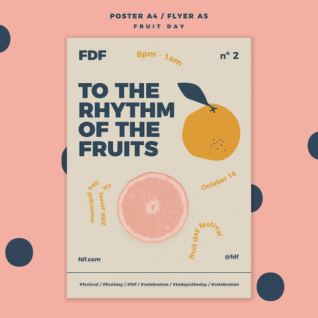 Illustrated fruit day flyer template Premium Psd
