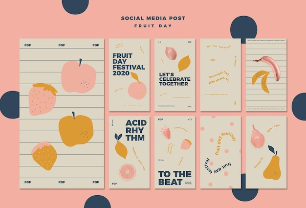 Illustrated fruit day instagram stories Free Psd