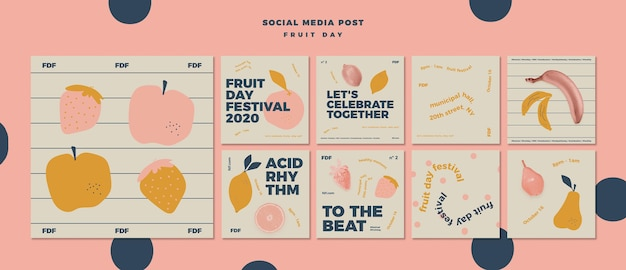 Illustrated fruit day social media posts Free Psd