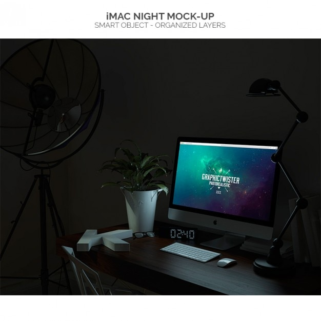 Imac night mock-up Free Psd