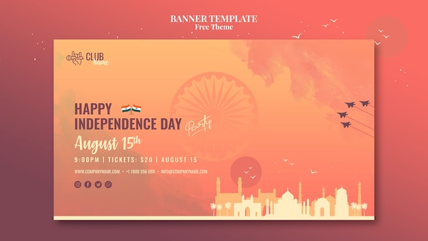 Independence day banner style Free Psd