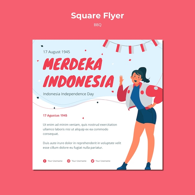 Independence day square flyer Free Psd