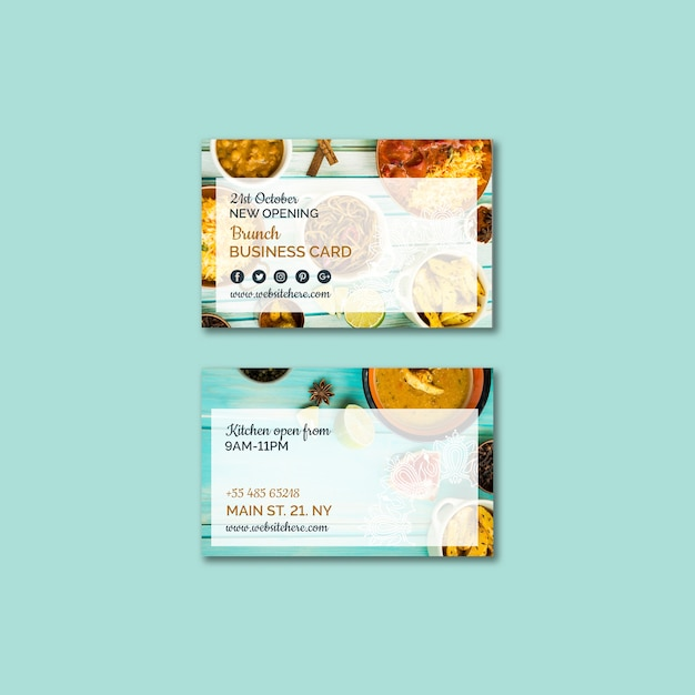 Indian food business card template Free Psd