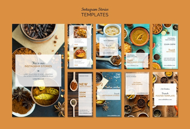 Indian food instagram stories collection Free Psd