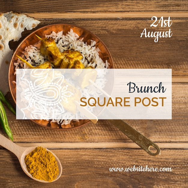 Indian food square post template Free Psd