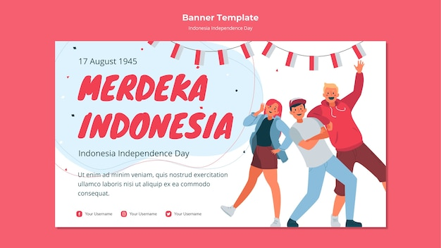 Indonesia independence day banner template Free Psd