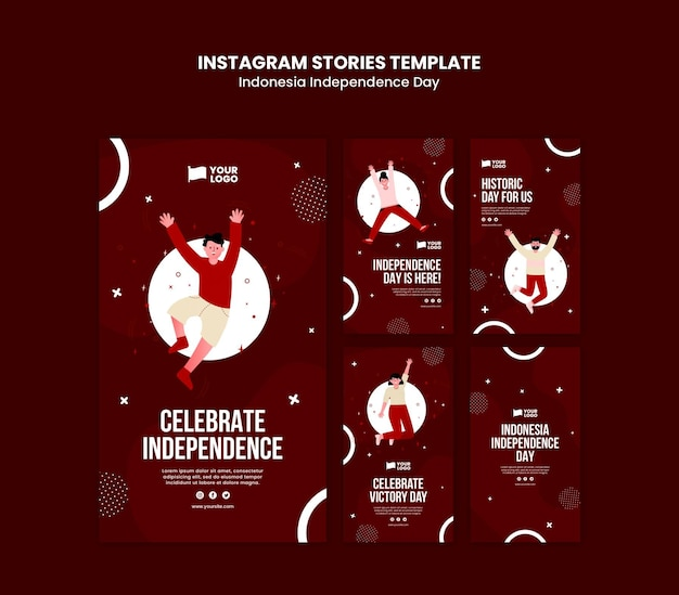 Indonesia independence day instagram stories template Free Psd