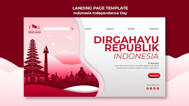 Indonesia independence day landing page Free Psd