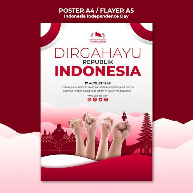 Indonesia independence day poster template Free Psd