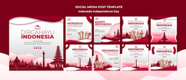 Indonesia independence day social media post Free Psd