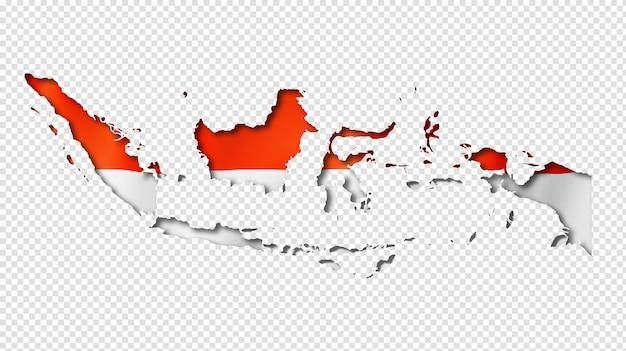 Indonesian flag map Premium Psd