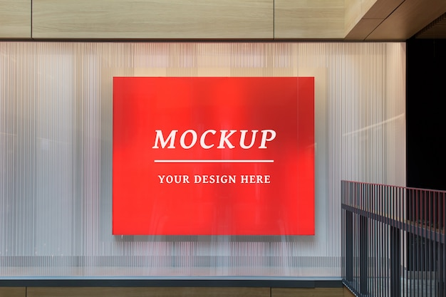 Indoor stationery editable psd mockup with large billboard Premium Psd