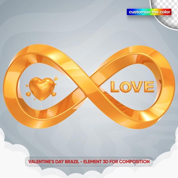 Infinity love valentine's day illustration in 3d rendering mockup Premium Psd