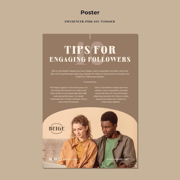 영향력있는 개념 포스터 템플릿 무료 PSD 파일