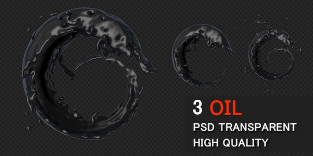 Ink oil splash circle round frame in 3d rendering isolated Premium Psd