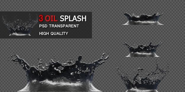 Ink oil splash isolated in 3d illustration Premium Psd