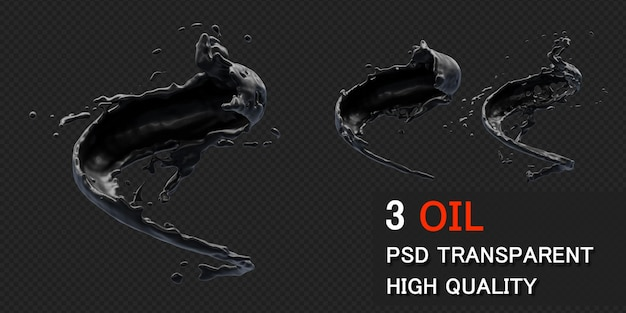 Ink oil splashwith droplets in 3d rendering isolated Premium Psd