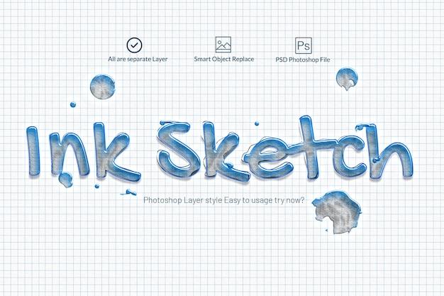 Ink sketch photoshop text effect Premium Psd
