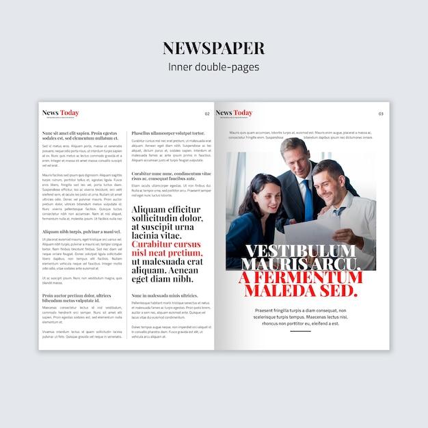 Внутренний двухстраничный газетный макет Бесплатные Psd