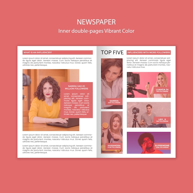 Внутренний шаблон газеты на две страницы с яркими цветами Бесплатные Psd