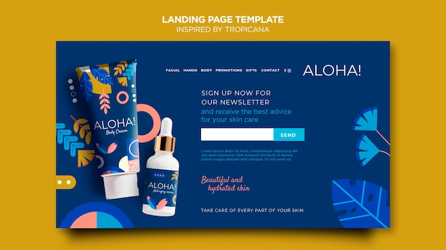 Inspired by tropicana web template Free Psd