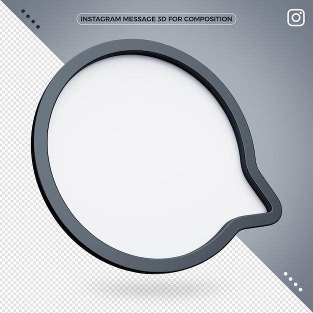 Instagram 3d message for composition Premium Psd