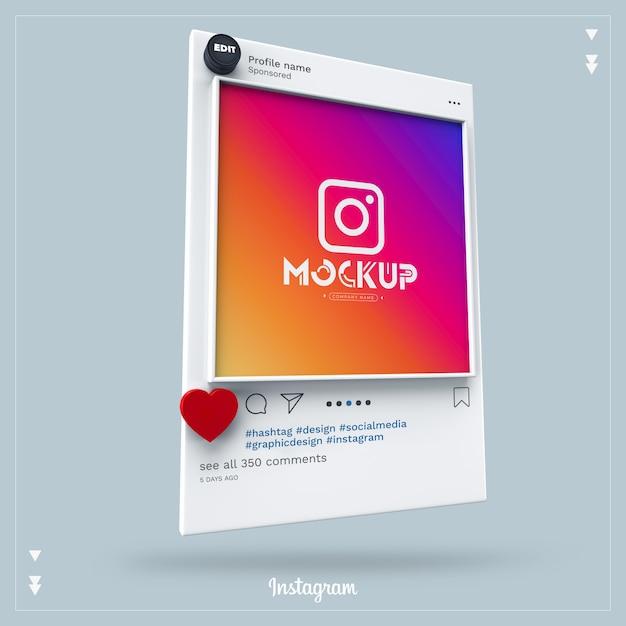 モックアップinstagramソーシャルメディア3d Premium Psd