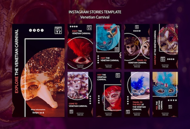Instagram concept for venetian carnival template Free Psd