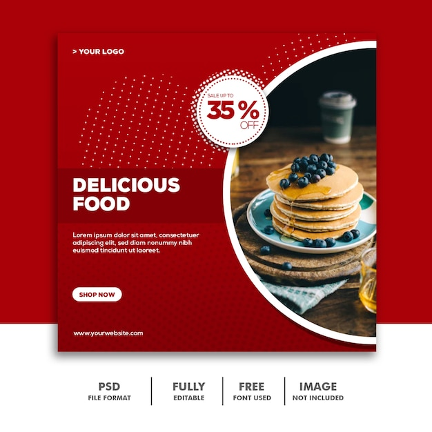 Шаблоны баннеров в социальных сетях instagram, delicious food Premium Psd