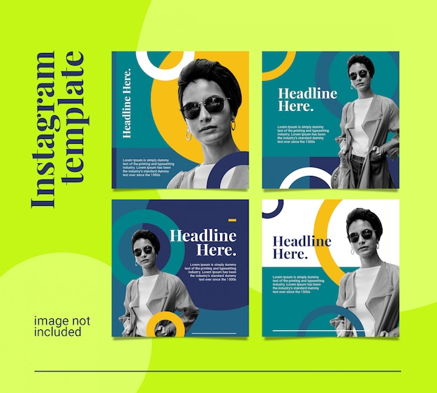 Instagram feed post bundles colorfull black and with dynamic style Premium Psd