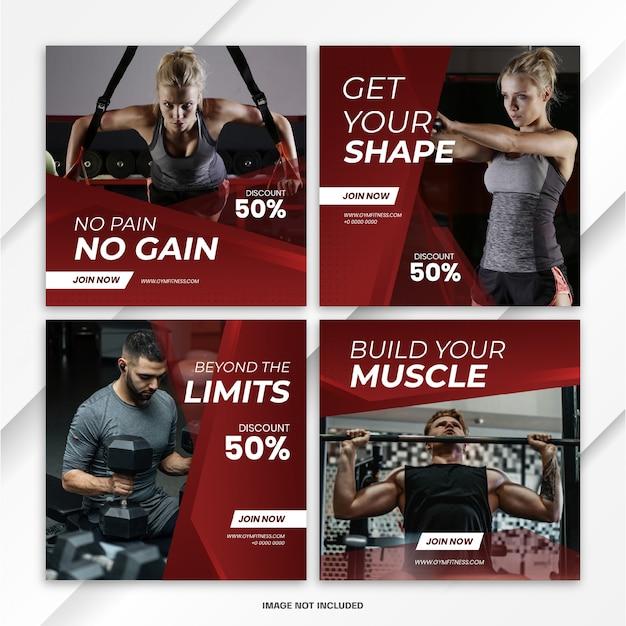 Instagram feed post fitness sportテンプレート Premium Psd