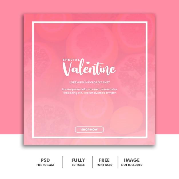 Социальные медиа опубликовать шаблон instagram, food valentine розовый Premium Psd
